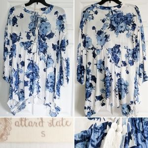 Altar'd State White and Blue Floral Boho Top